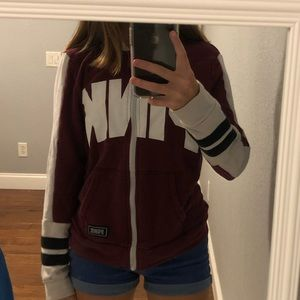 PINK Maroon and White Zip-Up Jacket